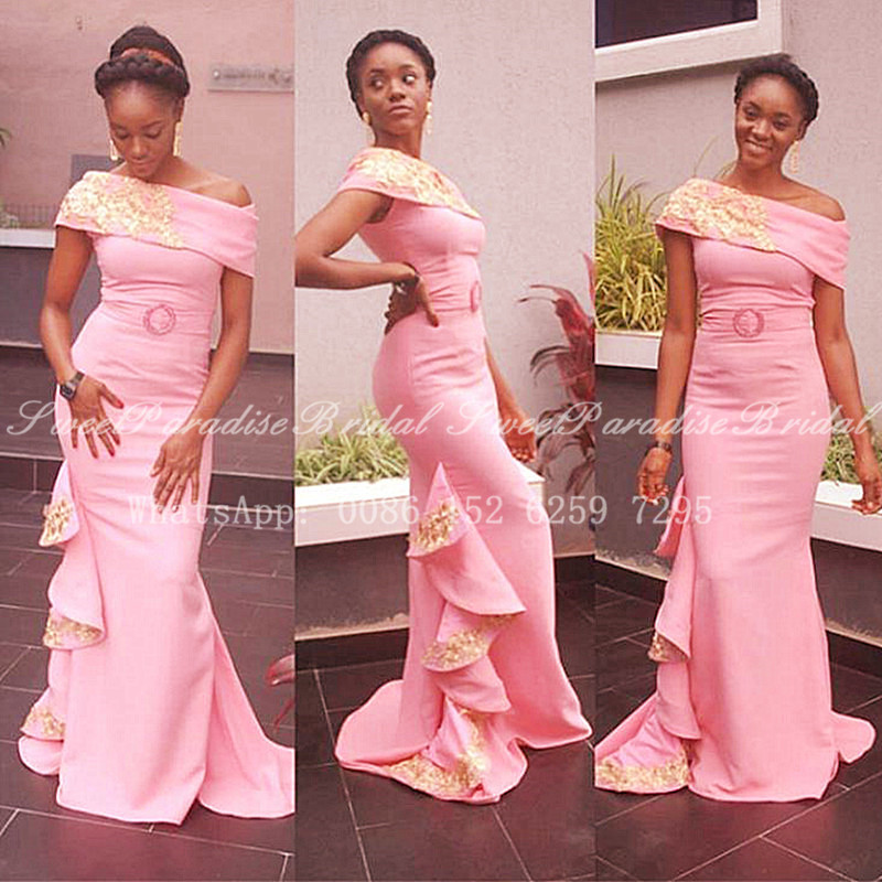 Luxury Gold Appliques Pink Bridesmaid Dresses 2020 Off Shoulder African Women Mermaid Long Wedding Party Dress Prom Vestidos