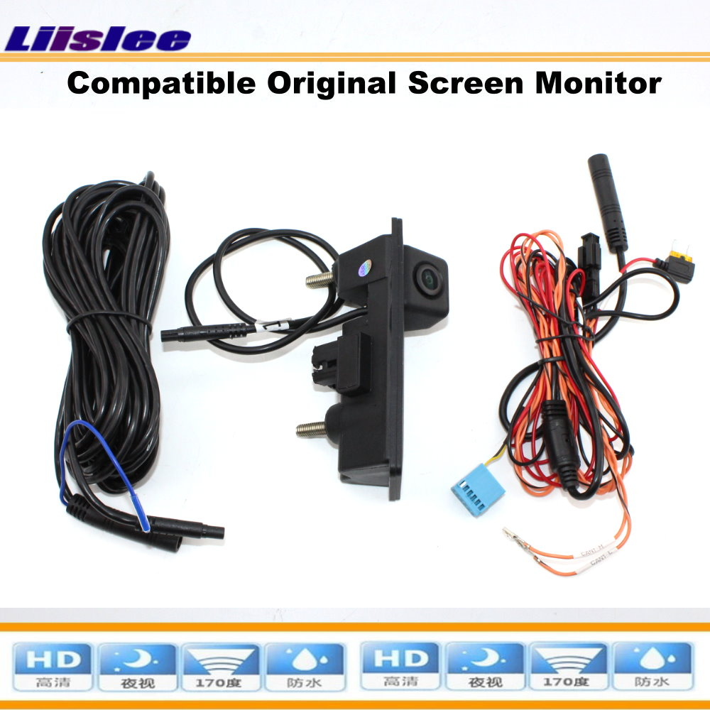 Liislee Car For Audi A3 S3 2012 2015 Reverse Trunk Handle Camera Compatible Original Screen Intelligent Dynamic Trajectory in Vehicle Camera from Automobiles Motorcycles
