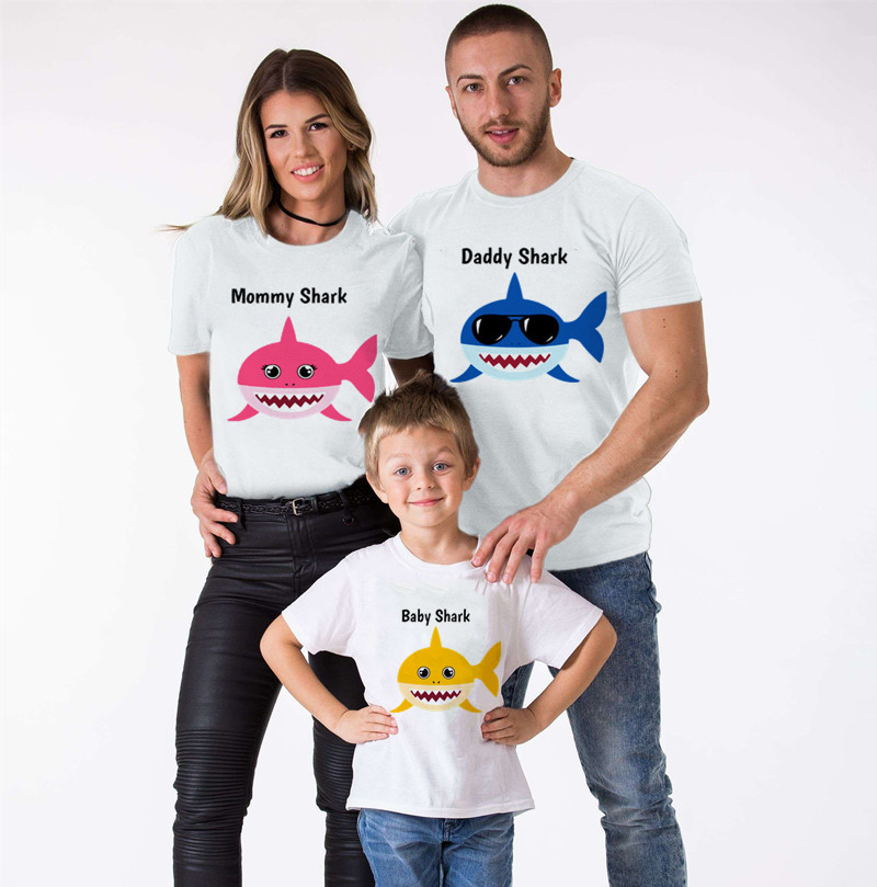 Shark Family Matching Clothes Mommy And Me Clothes Shark Short Sleeve T-Shirt Look At Daddy Matching Outfits TShirt Boys Clothes