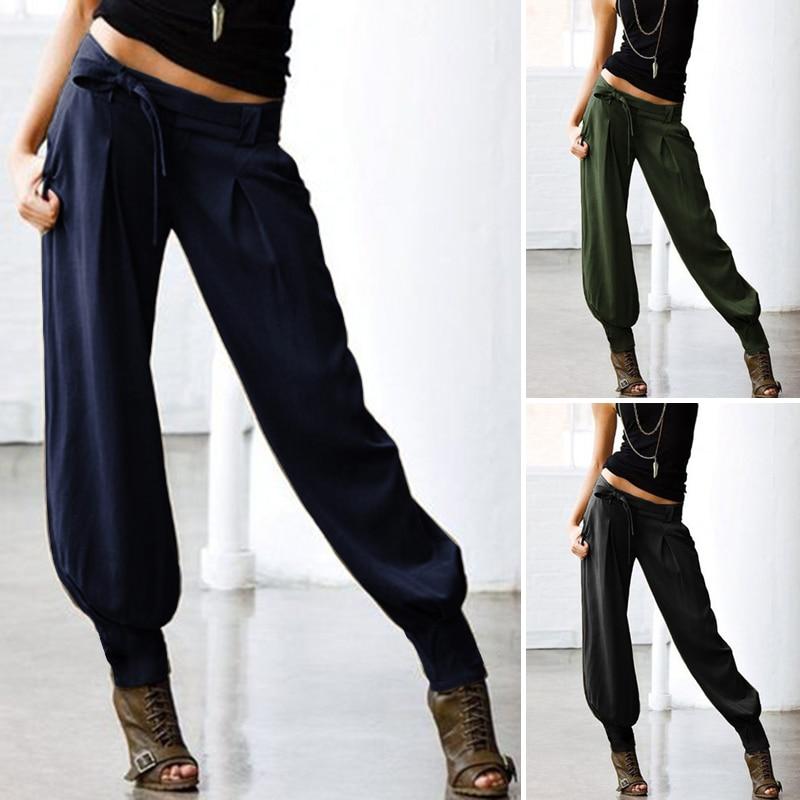 2020 ZANZEA Women Low Waist Sexy Pants Ladies Solid Back Elastic Waist Cargo Pants Pockets Belted Harem Long Trousers Streetwear