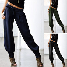 2020 ZANZEA Women Low Waist Sexy Pants Ladies Solid Back Elastic Waist Cargo Pants Pockets Belted Harem Long Trousers Streetwear(China)