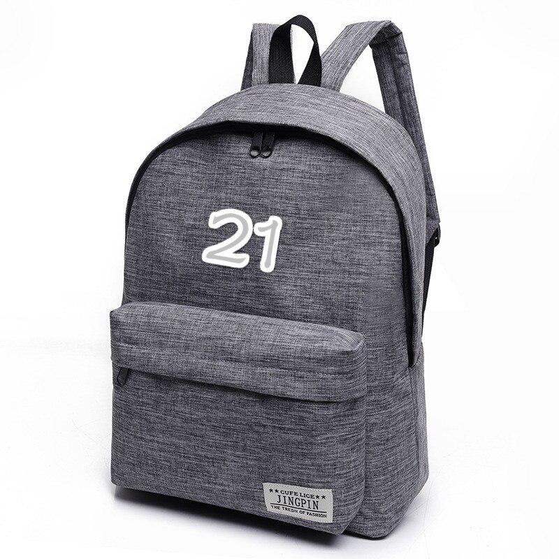 Men's Backpack Leisure Backpack Digital Number Backpack Canvas Wearable Simple Fashion
