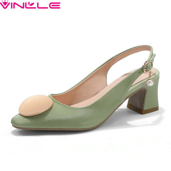 VINLLE 2020 PU Shallow Elegant Women Pumps Pointed Toe Back Strap Summer Ladies Shoes Square High Heel Buckle Sandals Size 34-43