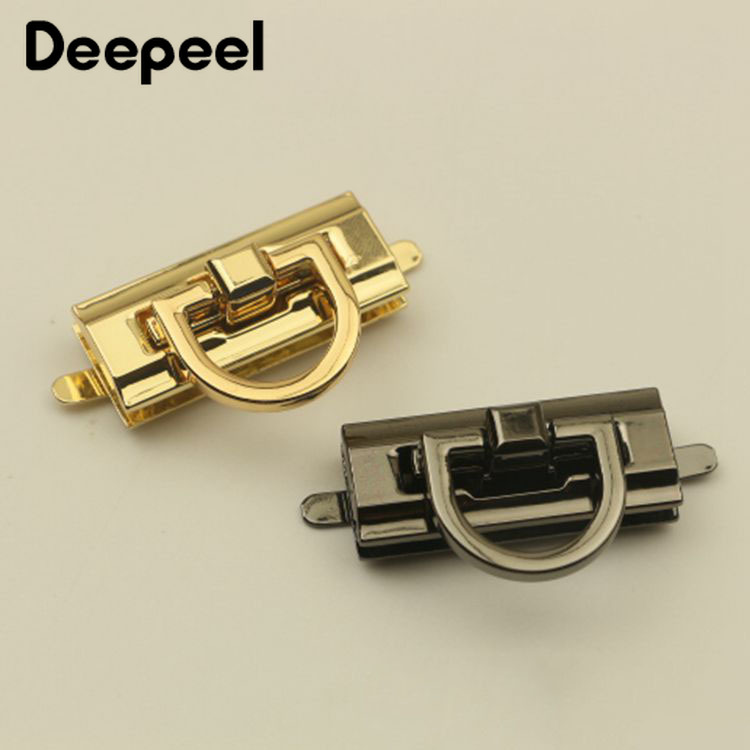 Deepeel 42x17mm Women Bag Metal Locks Buckle Fashion Twist Turn Snap Lock For Bag Purse Making DIY Replacement Clasp Closure