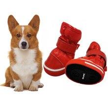 4 шт./компл. собака, теплая зимняя обувь, на шерстяной подкладке, Собака зимние сапоги из искусственной кожи; обувь для маленьких собак чихуахуа Водонепроницаемый Нескользящие щенок длядомашних животных