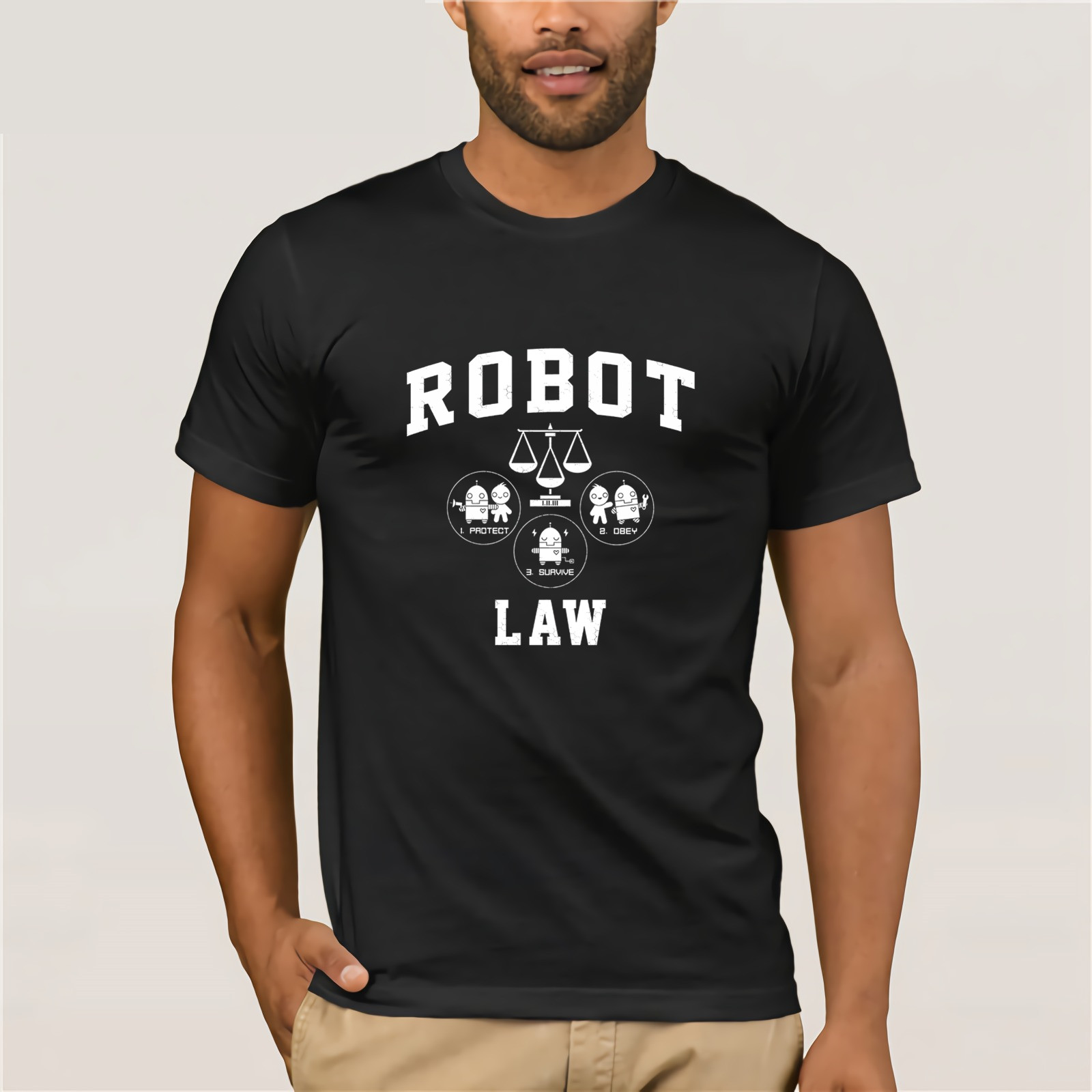 Robot Law School - tee 2019 Fashion Casual Streetwear Summer cool T-shirt Top T-shirt Men's Short Sleeve image