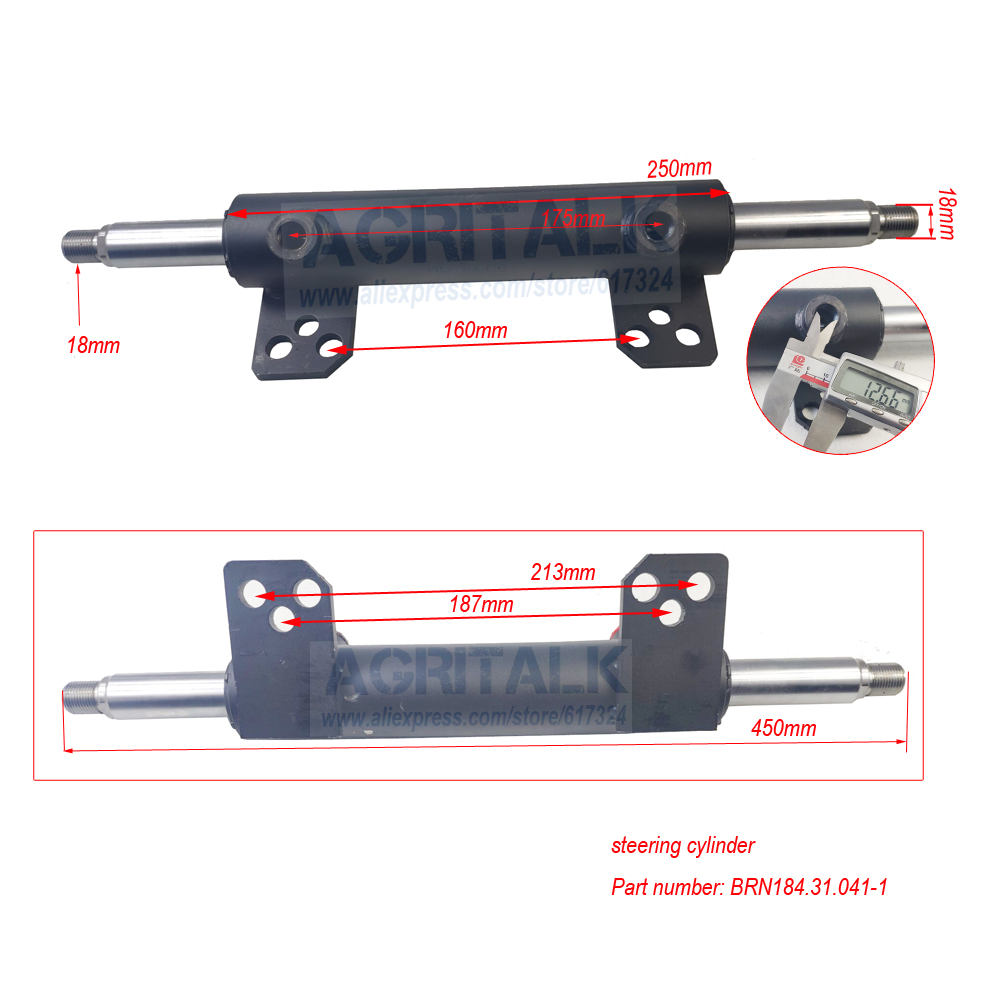 The Steering Cylinder For Jinma JM184 - JM254 Series Tractor, Please Check The Dimenssions Firstly, Part Number: BRN184.31.041-1