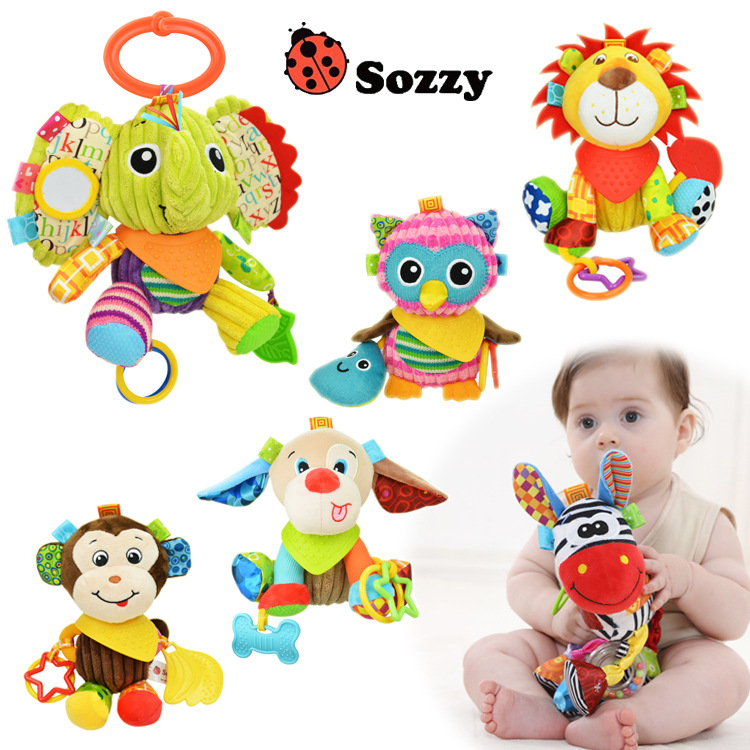 New Arrive Plush Baby Toy Baby Rattle Toys Animals Pull Bell Plush Toys Infant Appease Dolls Free Shipping SZ19