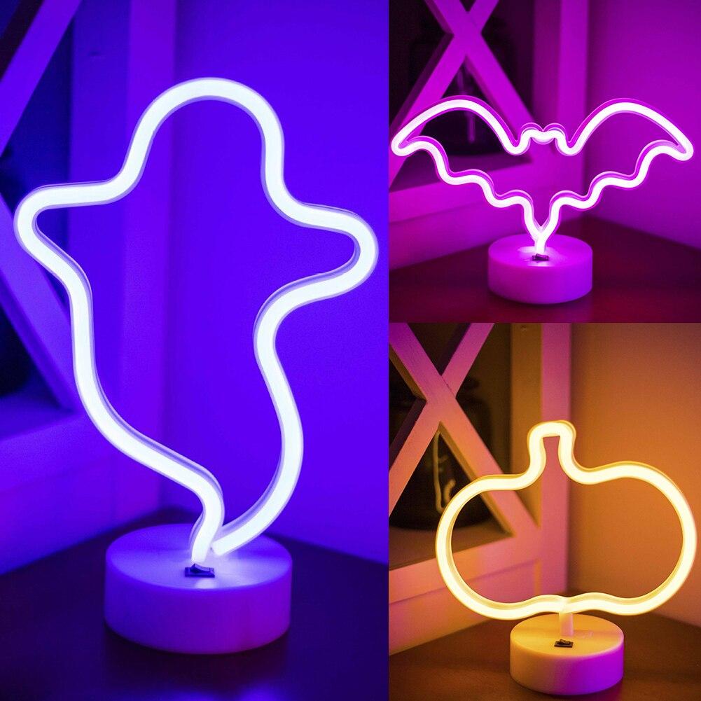 USB Powered LED Cute Night Lights Halloween Party Decoration Desktop Neon Bedroom Decoration Light Wall Hanging Light