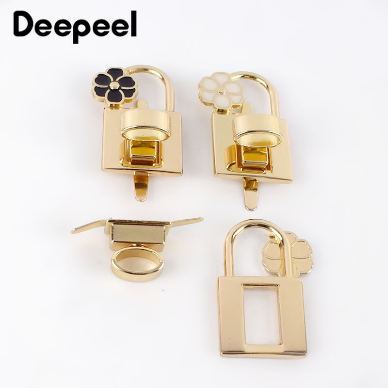 Deepeel 2/5pcs Flower Bag Square Turn Lock Clasp Metal Twist Switch Buckles DIY Luggage Closure Hardware Decor Accessory BF088