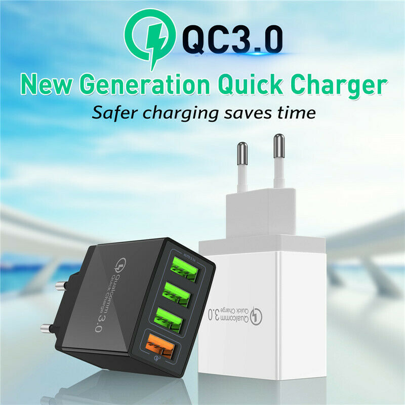 QC 3.0 4 USB Ports AC Power Travel Home Wall Charger Adapter US EU Plug