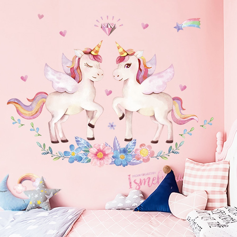 Cute <font><b>Unicorn</b></font> Flamingo Wall Stickers for Kids Rooms Girls <font><b>Bedroom</b></font> <font><b>Decor</b></font> DIY Poster Cartoon Animal Wallpaper Stickers on the Wall image
