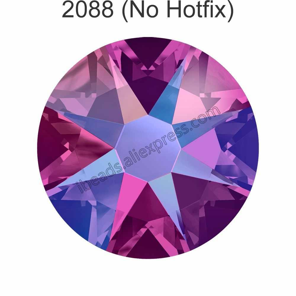 (24 Pcs) originele Kristallen uit Swarovski 2058 XILION 2088 XIRIUS Rose geen hotfix platte achterkant rhinestone strass voor nail art sieraden