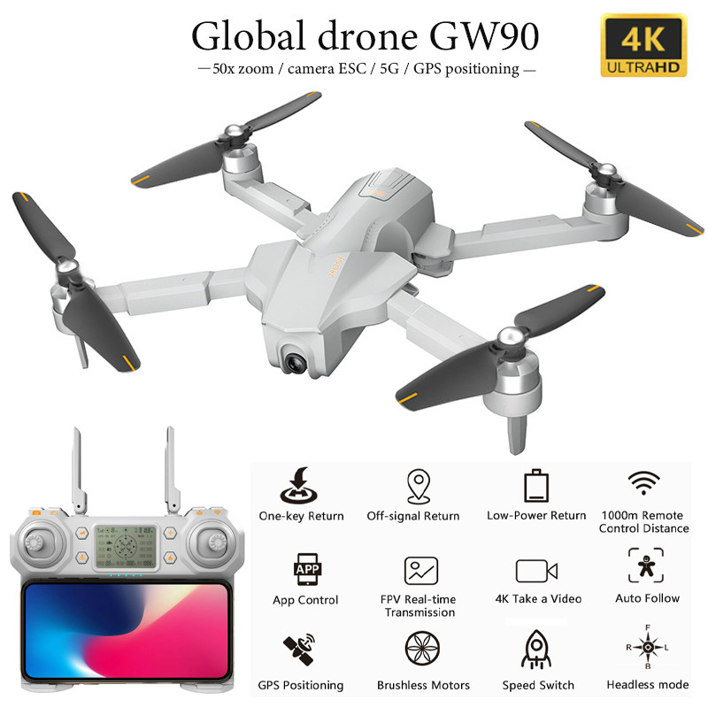 Global Drone Gw90 With 4k Gps Drone Aerial Photography Hd Professional Ultra-long Battery Life Four-axis Folding Drone Vs F11pro image