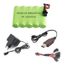 6v aa bateria nimh com cabo carregador, para rc, brinquedo, carro, barco, robô, caminhão, arma, peças, brinquedo elétrico instalações de segurança 6v 3000mah