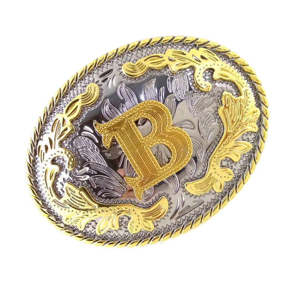 Rodeo Initial Letter B Metal Belt Buckle Arabesque Western Cowboy Cowgirl