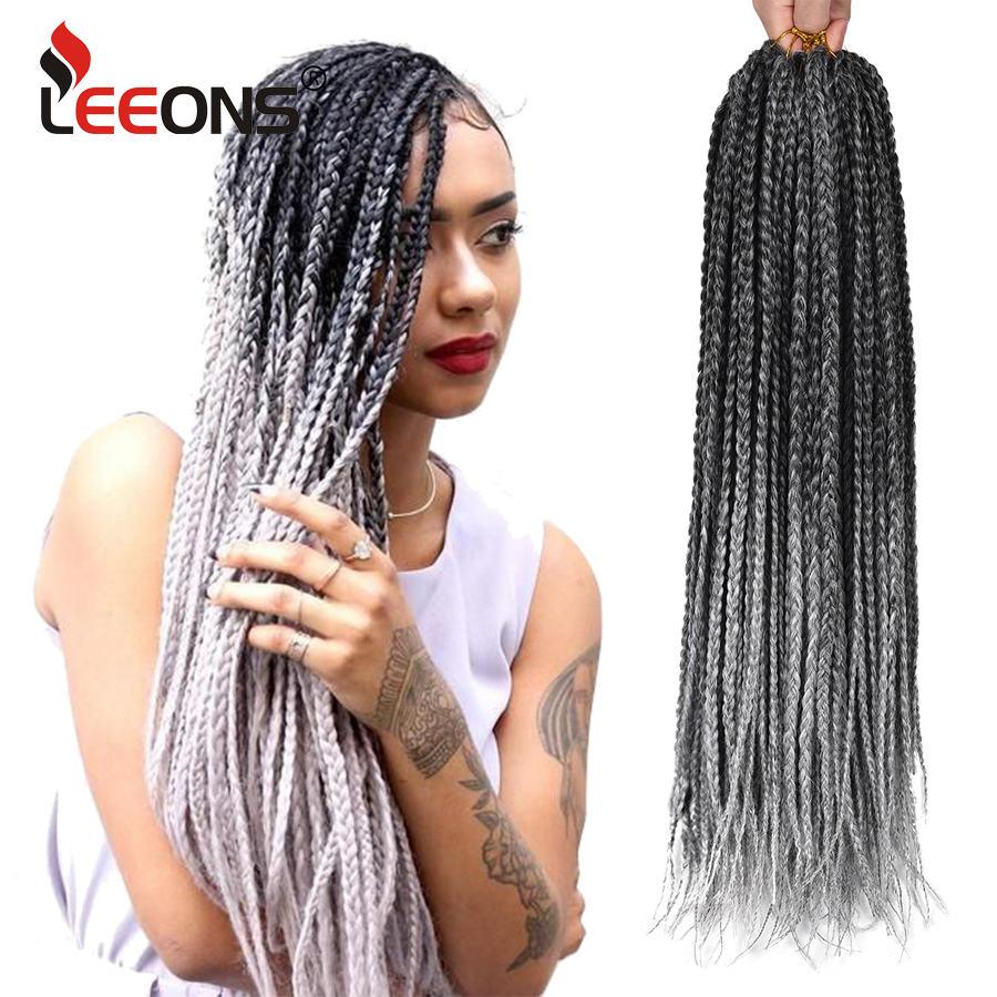 Leeons crochê caixa tranças de cabelo 12 16 20 24 30 Polegada curto médio longo tamanho extensões de cabelo sintético ombre trança cabelo