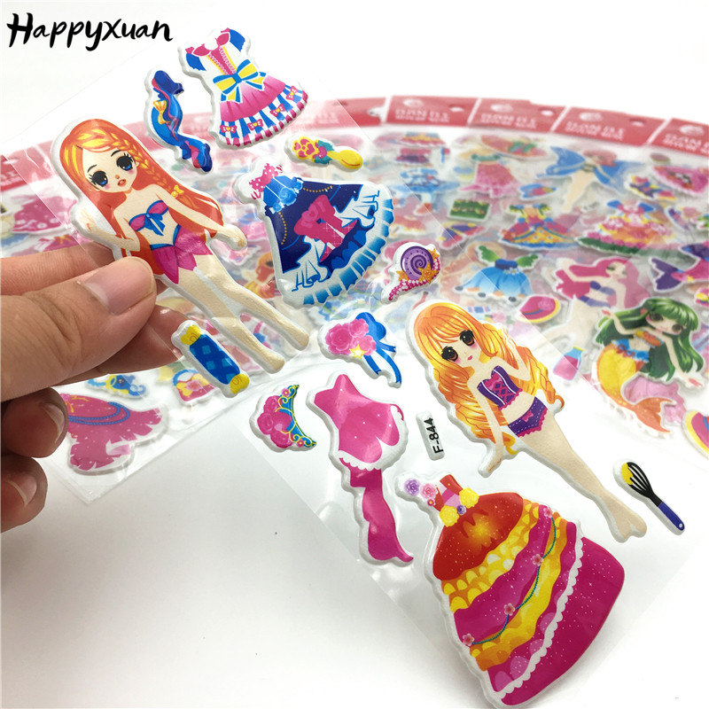 Happyxuan 12 Sheets Cute Cartoon Mermaid Dress Up Puffy Stickers For School Teacher Reward Early Learning Girls Toys