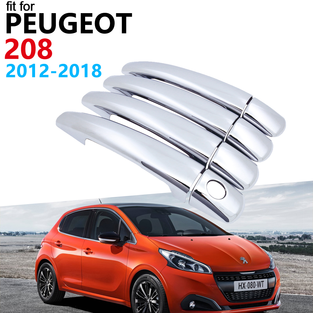 Door Handle Car Accessories for <font><b>Peugeot</b></font> <font><b>208</b></font> 2012~2018 Luxuriou <font><b>Chrome</b></font> Handle Cover Trim Set Car Stickers 2017 2016 2015 2014 image