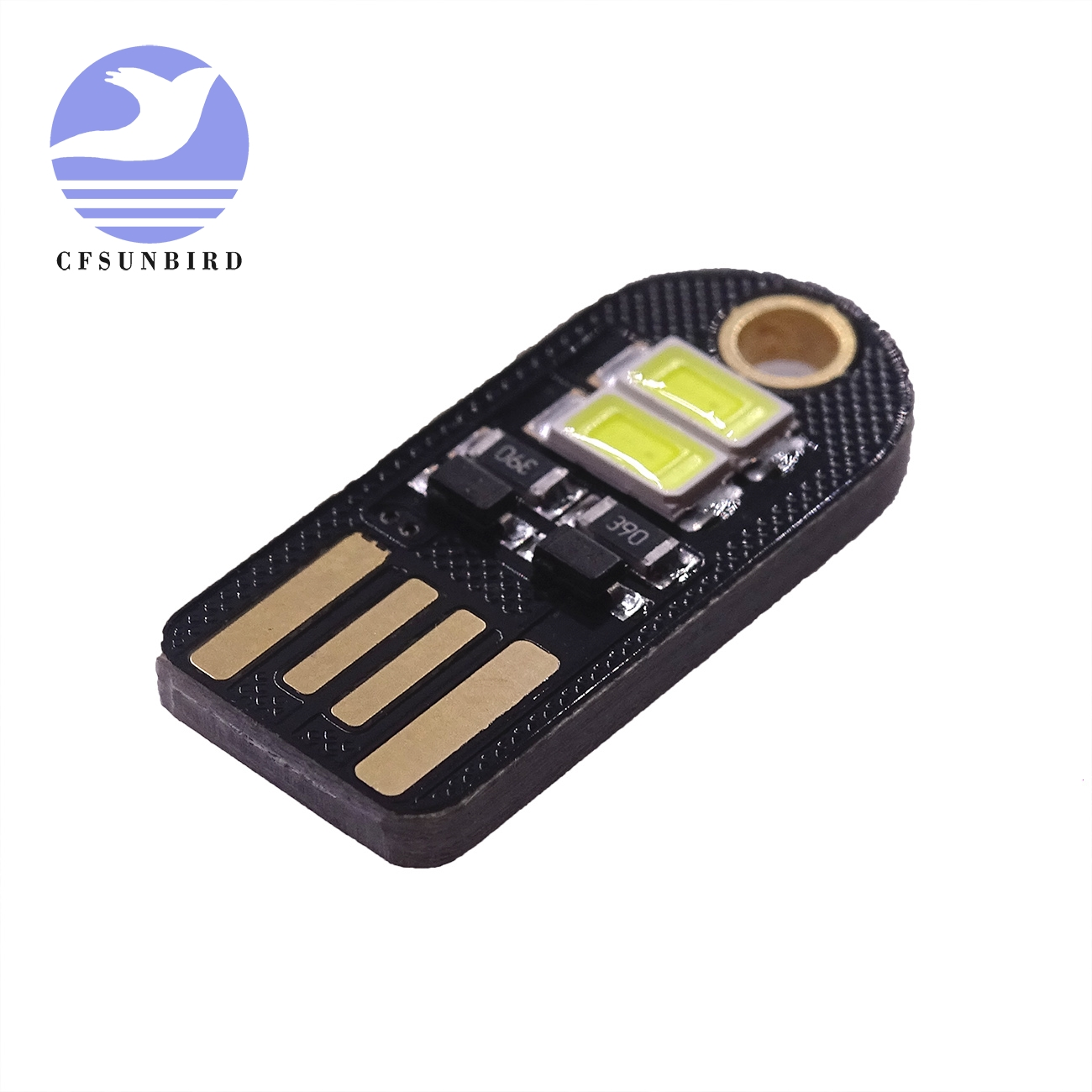 5Pcs Bulb Card Lamp Keychain White Pocket Mini USB Touch switch 4LED Night Light
