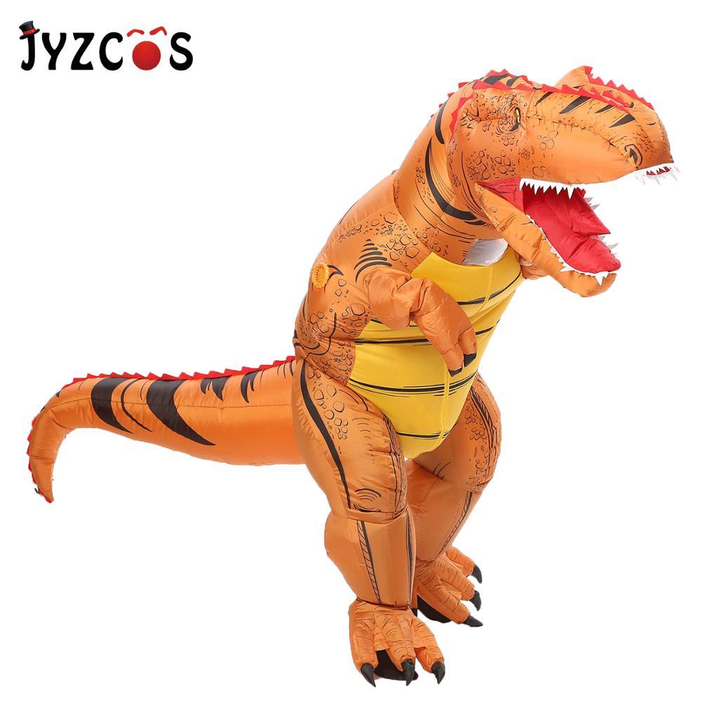JYZCOS T Rex Inflatable Dinosaur Costume Halloween Costume for Kids Dinosaur Cosplay Costume Fancy Dress Costume Men