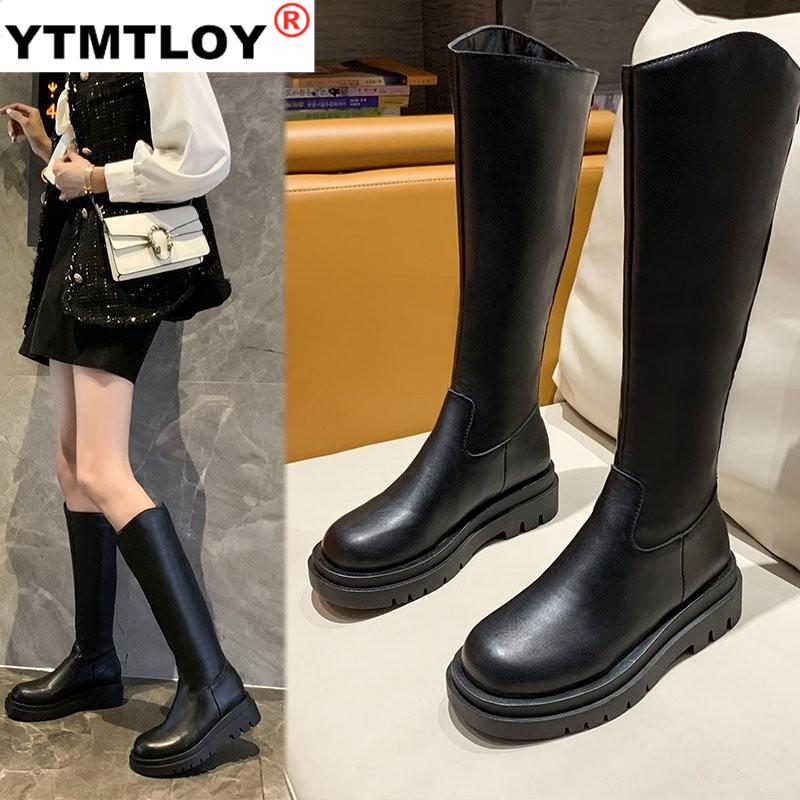 New Women Top Quality Knee High Boots Chunky Heels Dancing Night Club Shoes Woman Punk Riding Boots Mid calf  Winter  Black