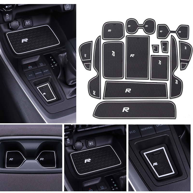 14pcs Anti-slip Car Door Rubber Cup Cushion Gate Slot Pad For Toyota RAV4 RAV 4 2019 2020 Accessories