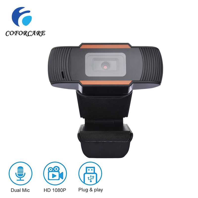 COFORCARE USB Webcam HD 1080P PC Camera With Dual Microphone MIC Auto Focus For Skype For Android TV Computer Camera USB Web Cam