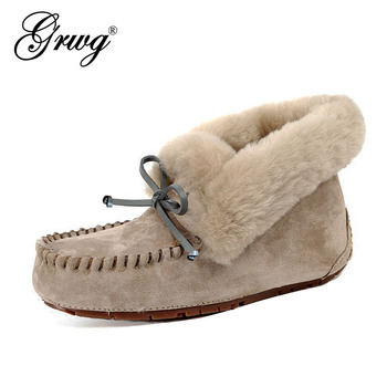 100% Genuine Leather waterproof women flat shoes comfortable winter warm natural fur snow fashion non-slip - discount item  49% OFF Women's Shoes