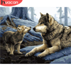 HUACAN Painting By Number Wolf Drawing On Canvas HandPainted Paint Art Gift DIY Coloring By Number Animal Kits Home Decoration