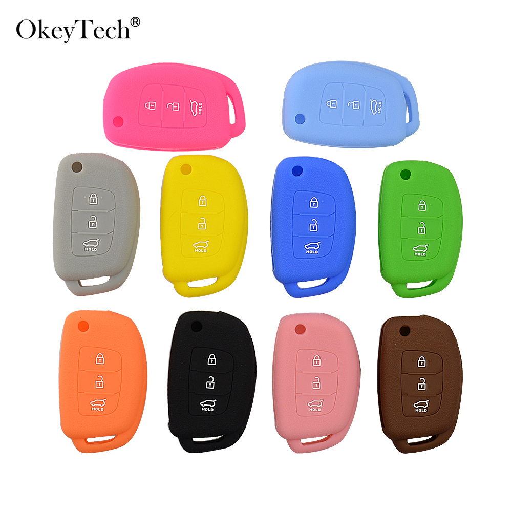 OkeyTech Silicone Car Key Case Cover For Hyundai Tucson Solaris Flip Folding Remote Auto Key 3 Buttons Fob Protector