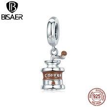 Coffee Grinder Charms BISAER 925 Sterling Silver Coffee Grinder Beads Charms Coffee Mill for Sterling Silver Bracelet GAC170