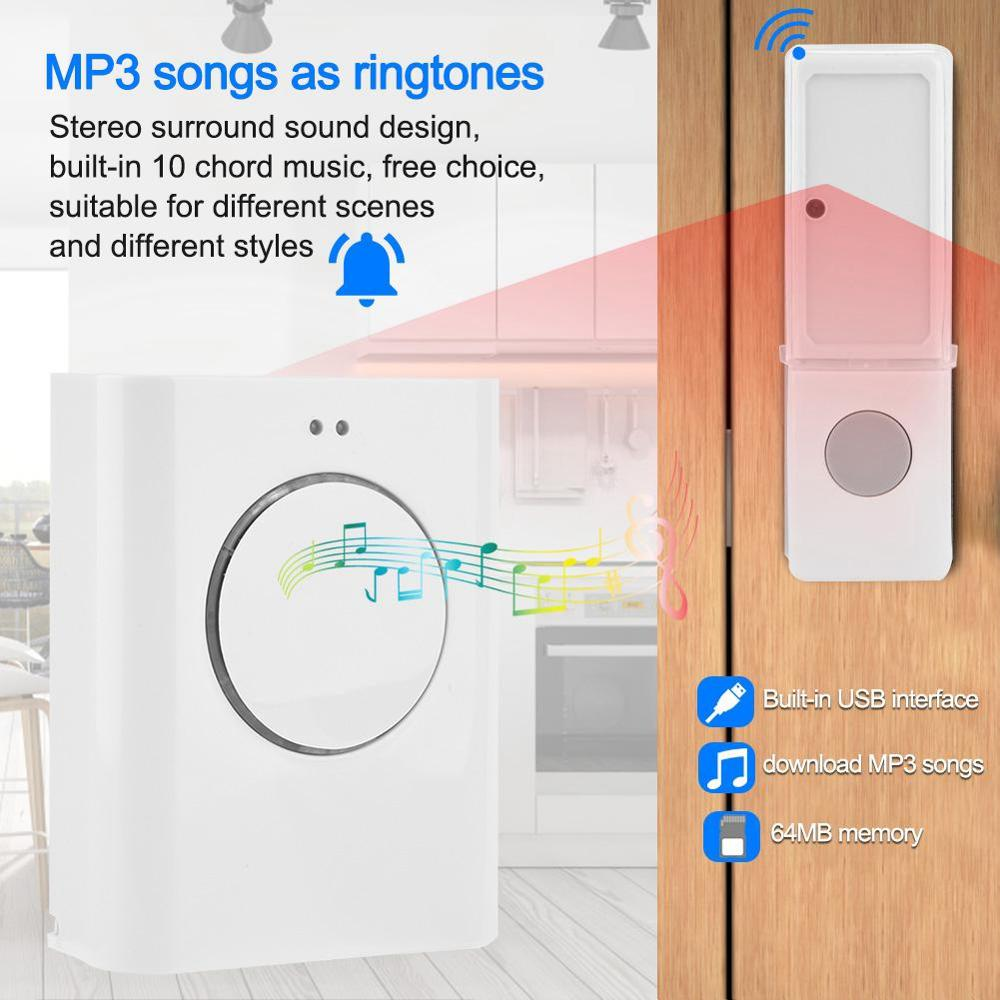 Wireless LED Motion Detector Flash PIR Alarm 32 Songs Welcome Doorbell System XH