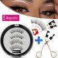MB Magnetic Eyelashes with 5 Magnets Handmade Reusable 3D Mink False Eyelashes for Makeup faux cils magnetique naturel Tweezers