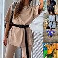 Casual Solide Outfits frauen Zwei Stück Anzug Mit Gürtel Hause Lose Sport Trainingsanzüge Mode Fahrrad Sommer Heißer Anzug 2021