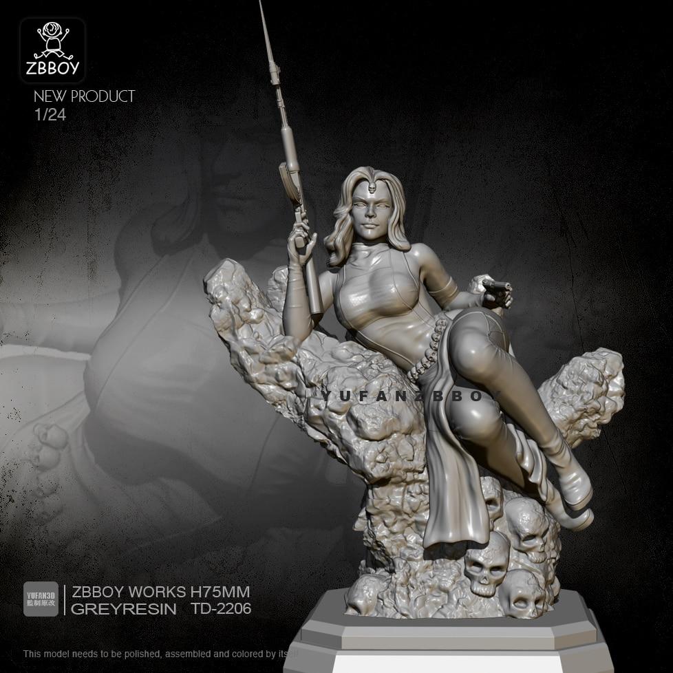 1/24 Resin Figure Kits Beauty Goddess Warrior Model Self-assembled TD-2206