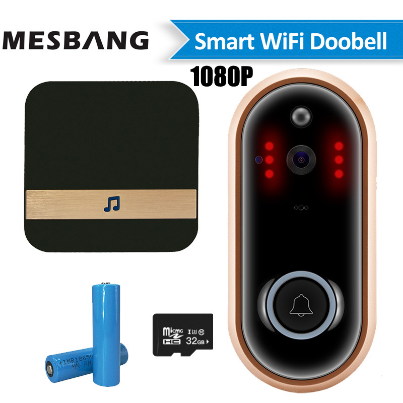 New 1080P Wifi Video Doorbell Wireless Battery Door Phone Camera Intercom Door Bell Calling With TF Card Chime Free Shipping