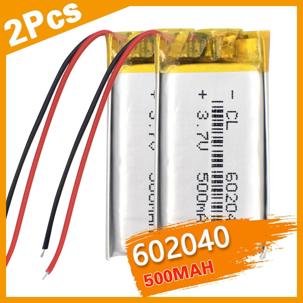 2 pièces 3.7V,500mAH,602040 polymère lithium ion/li-po batterie Rechargeable pour jouet, batterie externe, GPS,mp3,mp4, téléphone portable, haut-parleur