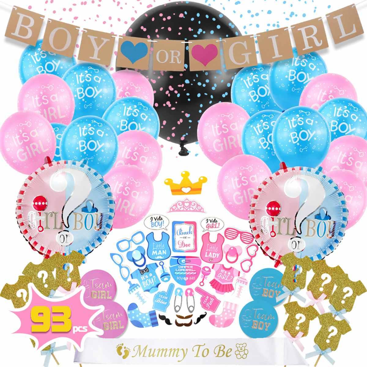 6Pcs Baby Shower Foil Confetti Balloon Set Boys Girls Gender Reveal Party Decor