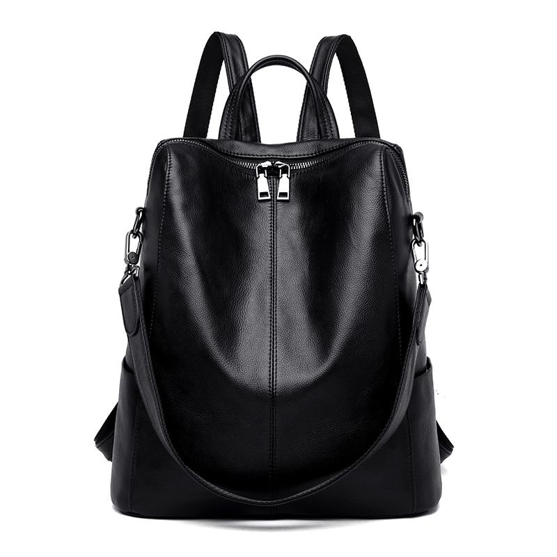 Simple Backpack Large Capacity Leather Soft Elegant Temperament Dual Shoulder Straps Backpack