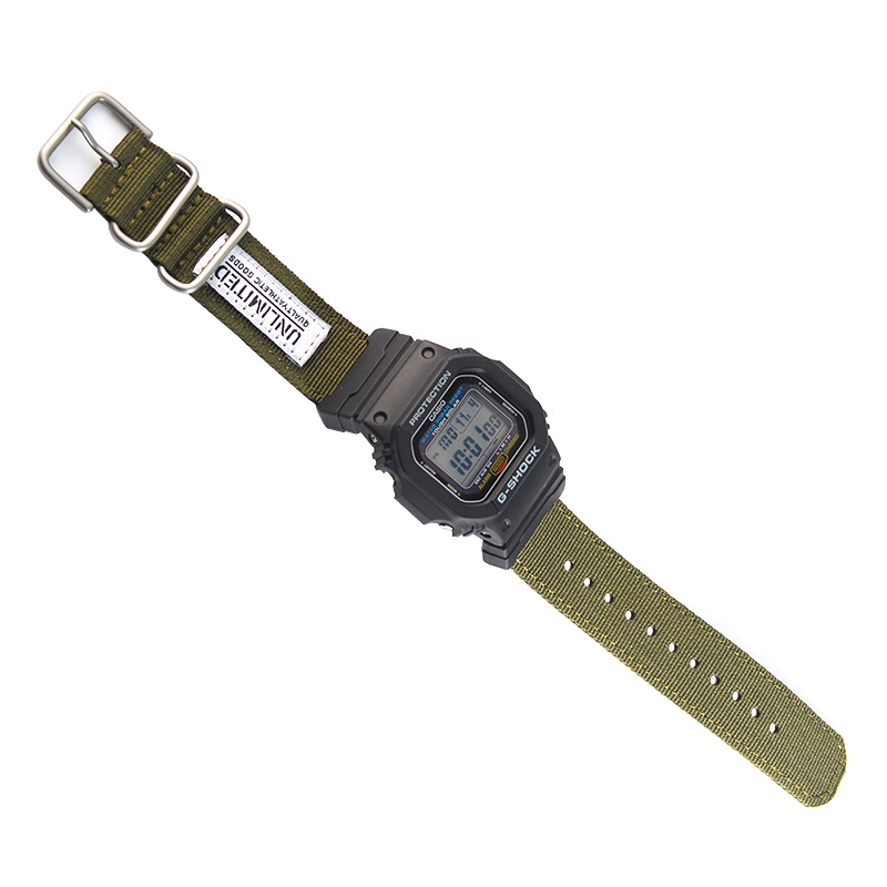 Nylon NATO Watchband For GA-110/ 100,DW-5600,GW-6900 Sliver Ring Buckle Bracelet Band Strap With Adapters
