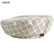 USPOP 2019 New Autumn hats women wool berets vintage plaid beret British flat top