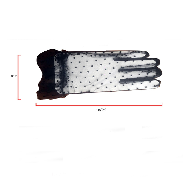 New 1 Pair Women Short Tulle Gloves Stretchy Lace Spots Full Finger Mittens Mesh Lace Gloves 6