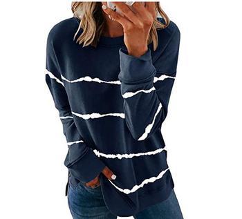 2020 New Autumn Tops 5XL Large Size Women Tie Dye Stripe T Shirt Casual Long Sleeve Oversized Loose Tee Shirt Fashion Ladies Top - style1, XXXL