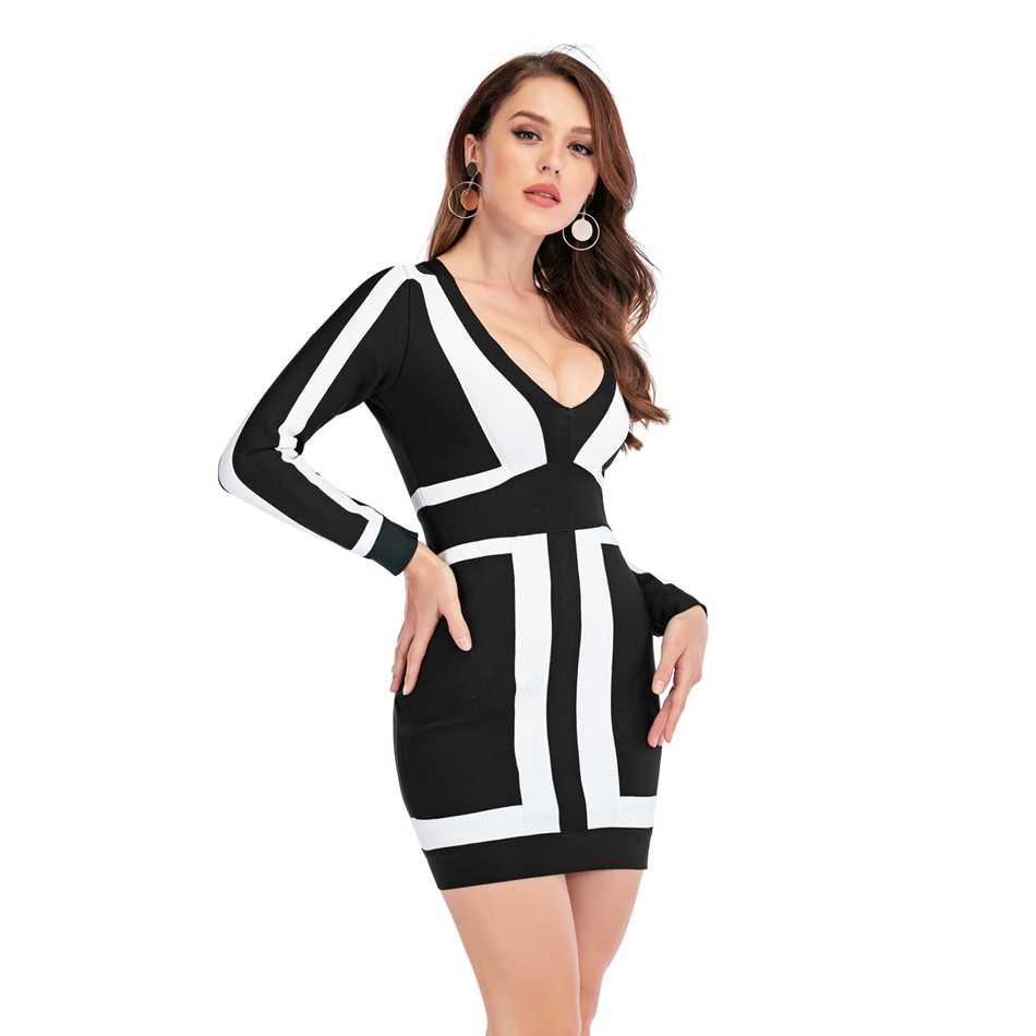 Musim Semi Perban Dress Patchwork Lengan Panjang Mendalam V Leher Gaun Mini Pesta Selebriti Club Bodycon Vestidon HL