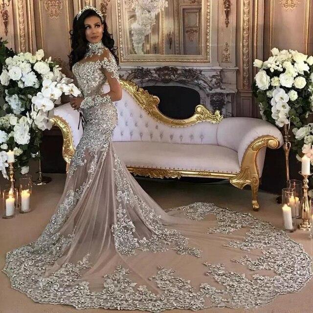 דובאי ערבית יוקרה נוצץ 2020 חתונה שמלות בלינג חרוזים Applique גבוה צוואר אשליה ארוכה שרוולי בת ים הכלה שמלת שמלות