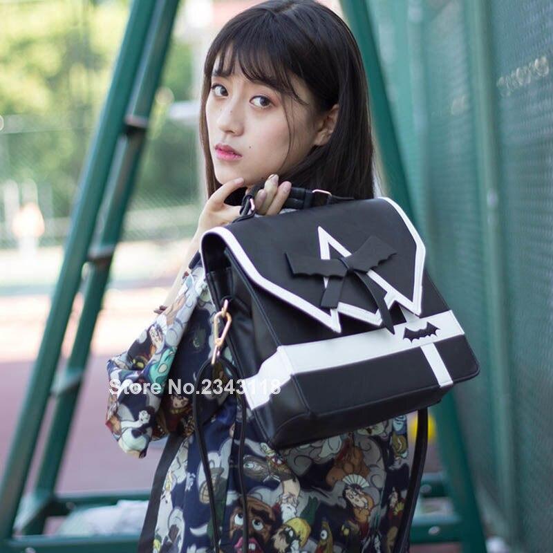 Japonais fille collège arc JK uniformes sac à dos Punk ténèbres gothique cinq étoiles femmes fille noir sac à dos en simili cuir polyuréthane 3way lolita sac