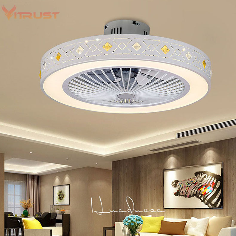 cheapest Modern Ceiling Fan Lights Dining Room Bedroom Living remote control Fan Lamps Invisible Ceiling Lights Fan Lighting Small Office