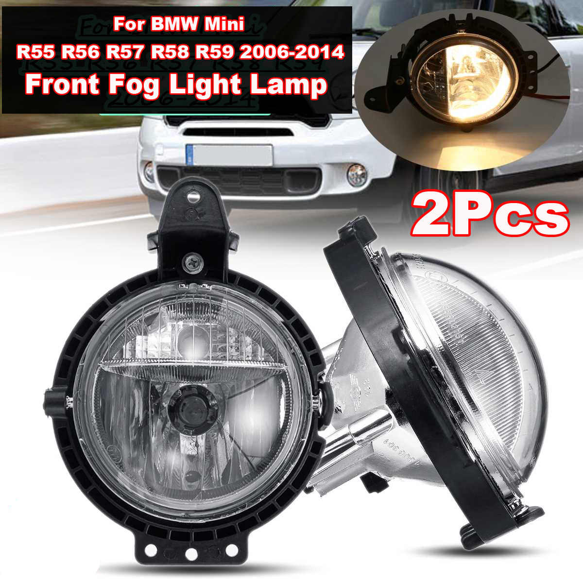 Paire de phares antibrouillard avant pour BMW MINI COOPER R55 R56 R57 R59 2006-2014