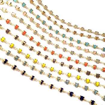 1 Meter Handmade Gold Wire Wrapped Rosary Chain stone Beads Chains for Necklaces Bracelets Anklet Making DIY Jewelry Findings 1 meter handmade gold wire wrapped rosary chain stone beads chains for necklaces bracelets anklet making diy jewelry findings